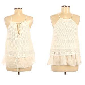 Thakoon Addition Tiered Crochet White Halter Top